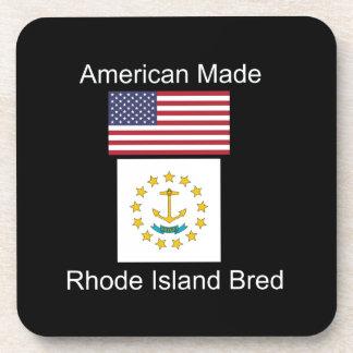"""American Born..Rhode Island Bred"" Flag Design Drink Coaster"
