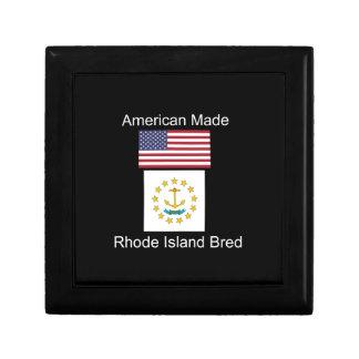 """American Born..Rhode Island Bred"" Flag Design Keepsake Box"
