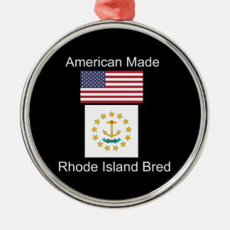 """American Born..Rhode Island Bred"" Flag Design Metal Ornament"