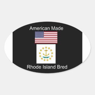 """American Born..Rhode Island Bred"" Flag Design Oval Sticker"