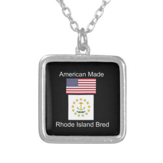 """American Born..Rhode Island Bred"" Flag Design Silver Plated Necklace"