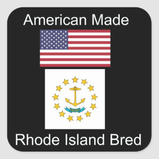"""American Born..Rhode Island Bred"" Flag Design Square Sticker"