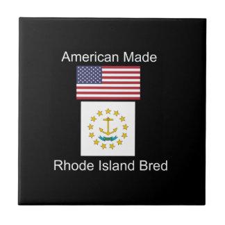 """American Born..Rhode Island Bred"" Flag Design Tile"