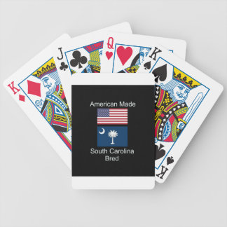 """""""American Born..South Carolina Bred"""" Flag Design Bicycle Playing Cards"""