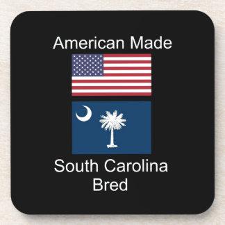 """American Born..South Carolina Bred"" Flag Design Coasters"