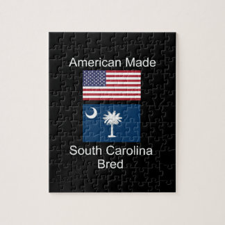 """American Born..South Carolina Bred"" Flag Design Jigsaw Puzzle"
