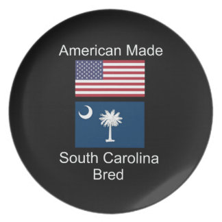 """American Born..South Carolina Bred"" Flag Design Plate"