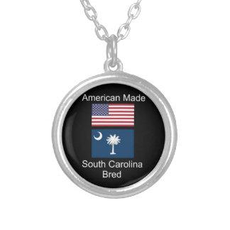 """American Born..South Carolina Bred"" Flag Design Silver Plated Necklace"