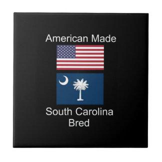 """American Born..South Carolina Bred"" Flag Design Tile"