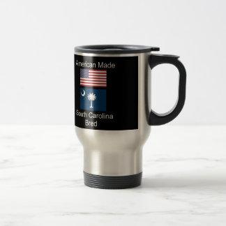 """American Born..South Carolina Bred"" Flag Design Travel Mug"