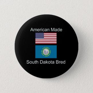 """American Born..South Dakota Bred"" Flag Design 2 Inch Round Button"