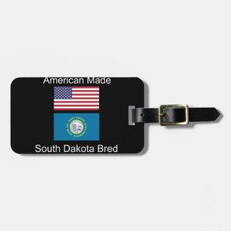 """American Born..South Dakota Bred"" Flag Design Bag Tag"
