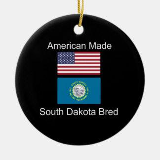 """American Born..South Dakota Bred"" Flag Design Ceramic Ornament"