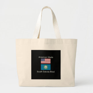 """American Born..South Dakota Bred"" Flag Design Large Tote Bag"