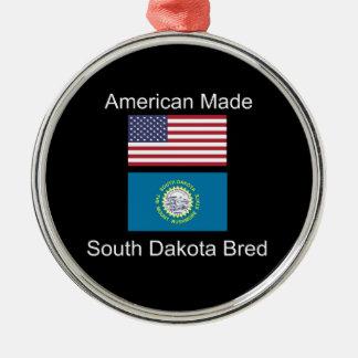 """American Born..South Dakota Bred"" Flag Design Metal Ornament"