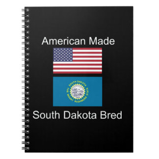 """American Born..South Dakota Bred"" Flag Design Notebooks"