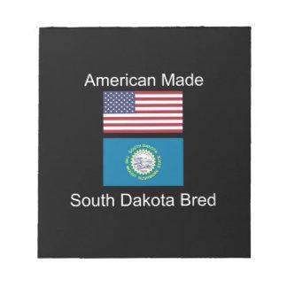 """American Born..South Dakota Bred"" Flag Design Notepad"