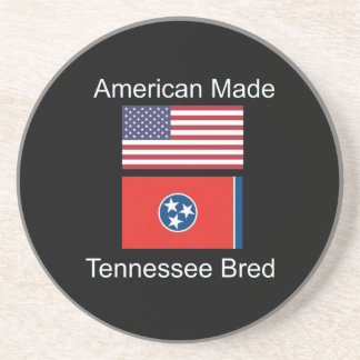 """American Born..Tennessee Bred"" Flag Design Coaster"