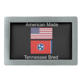 """American Born..Tennessee Bred"" Flag Design Rectangular Belt Buckles"