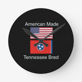"""American Born..Tennessee Bred"" Flag Design Round Clock"