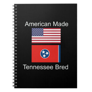 """American Born..Tennessee Bred"" Flag Design Spiral Notebook"