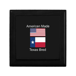 """American Born..Texas Bred"" Flags and Patriotism Keepsake Box"