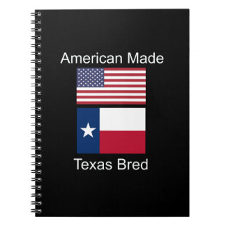 """American Born..Texas Bred"" Flags and Patriotism Notebooks"