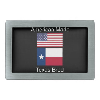 """American Born..Texas Bred"" Flags and Patriotism Rectangular Belt Buckles"