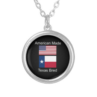 """American Born..Texas Bred"" Flags and Patriotism Silver Plated Necklace"