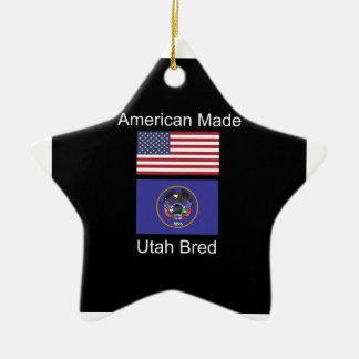 """""""American Born..Utah Bred"""" Flags and Patriotism Ceramic Ornament"""