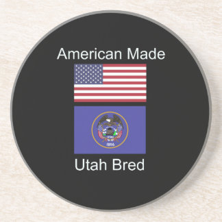 """American Born..Utah Bred"" Flags and Patriotism Coaster"