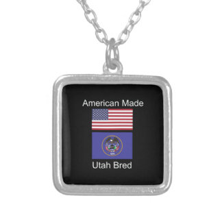 """American Born..Utah Bred"" Flags and Patriotism Silver Plated Necklace"