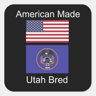 """American Born..Utah Bred"" Flags and Patriotism Square Sticker"