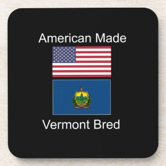 """""""American Born..Vermont Bred"""" Flags and Patriotism Beverage Coaster"""