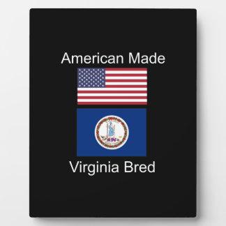"""""""American Born..Virginia Bred"""" Flag Design Plaque"""