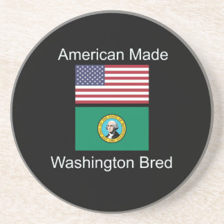 """American Born..Washington Bred"" Flag Design Drink Coaster"