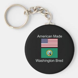 """American Born..Washington Bred"" Flag Design Keychain"