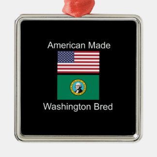 """American Born..Washington Bred"" Flag Design Metal Ornament"