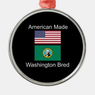 """American Born..Washington Bred"" Flag Design Metal Ornament"
