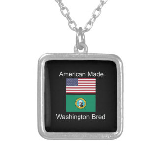 """American Born..Washington Bred"" Flag Design Silver Plated Necklace"