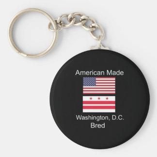 """American Born..Washington, D.C. Bred"" Flag Design Keychain"