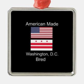 """American Born..Washington, D.C. Bred"" Flag Design Metal Ornament"