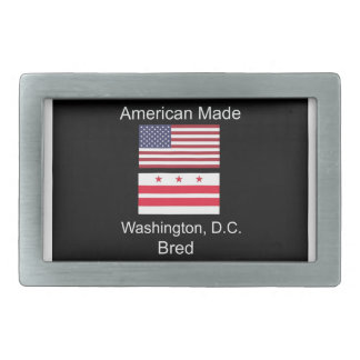 """American Born..Washington, D.C. Bred"" Flag Design Rectangular Belt Buckle"