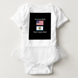 """American Born..West Virginia Bred"" Flag Design Baby Bodysuit"
