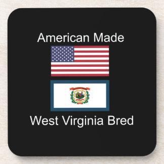 """American Born..West Virginia Bred"" Flag Design Beverage Coasters"