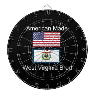 """American Born..West Virginia Bred"" Flag Design Dartboard"