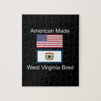 """American Born..West Virginia Bred"" Flag Design Jigsaw Puzzle"