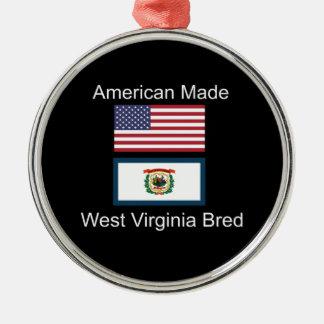 """American Born..West Virginia Bred"" Flag Design Metal Ornament"