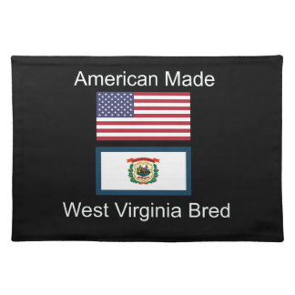 """American Born..West Virginia Bred"" Flag Design Placemat"
