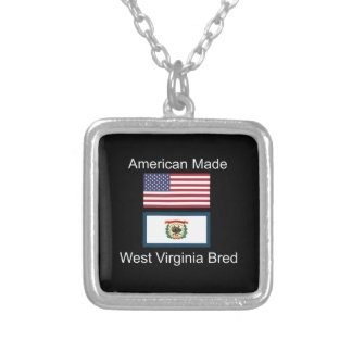 """American Born..West Virginia Bred"" Flag Design Silver Plated Necklace"